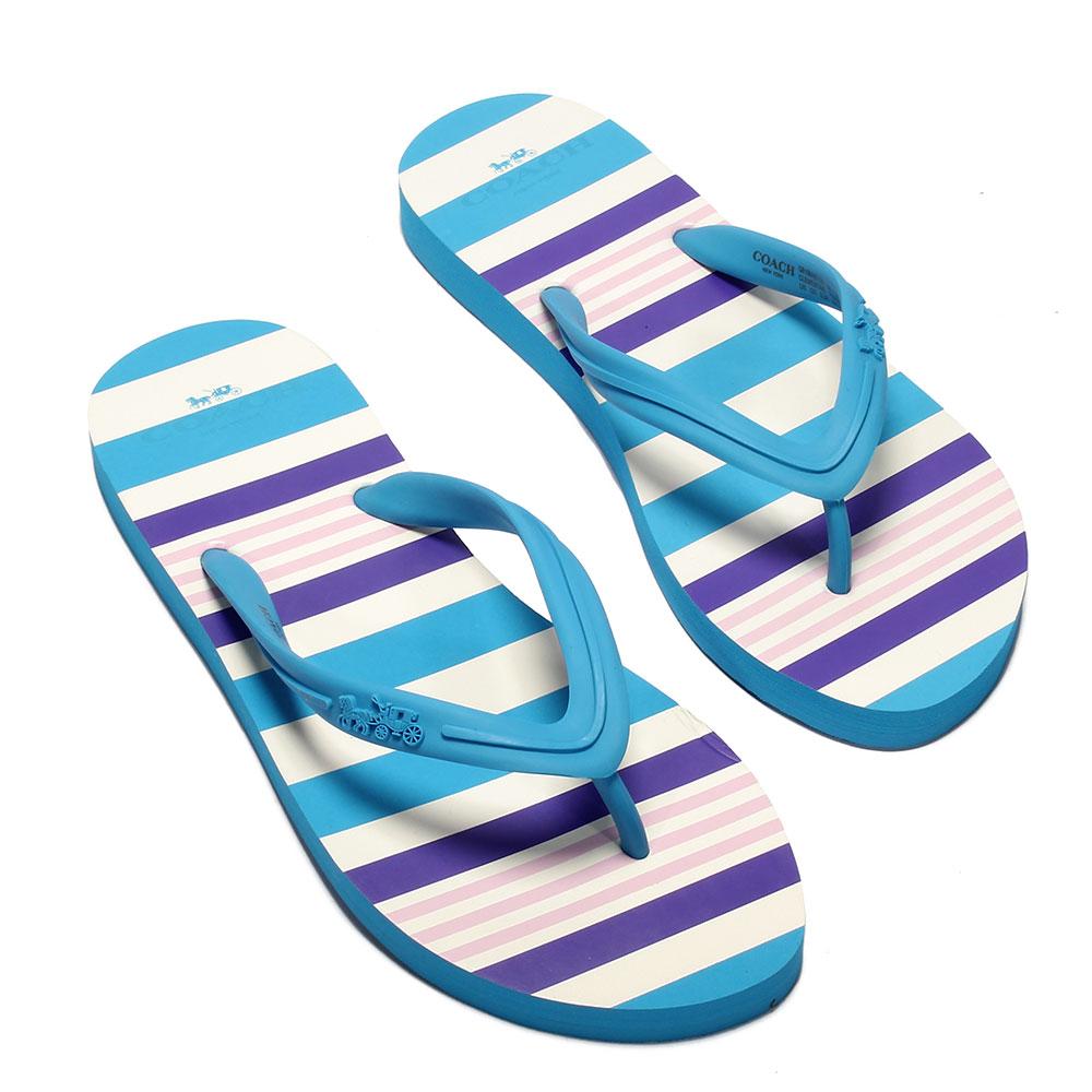 COACH繽紛彩色條紋人字夾腳拖鞋-天藍色