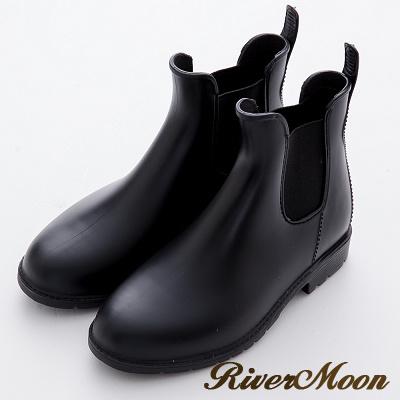River&Moon雨靴-素面簡約側鬆緊霧面雨鞋雨靴-黑