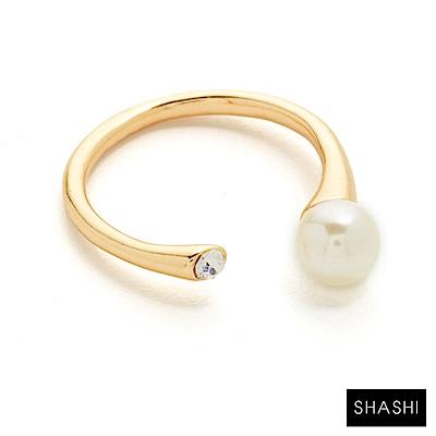 SHASHI 紐約品牌 MONA 珍珠白鑽雙墜 C型戒指 925純銀鑲18K金 可調式