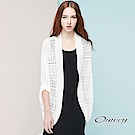 OUWEY歐薇 隨性連袖縷空組織罩衫(白)