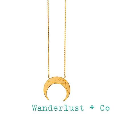 Wanderlust+Co 澳洲品牌 金色金牛座項鍊 鑲鑽新月項鍊 TAURUS