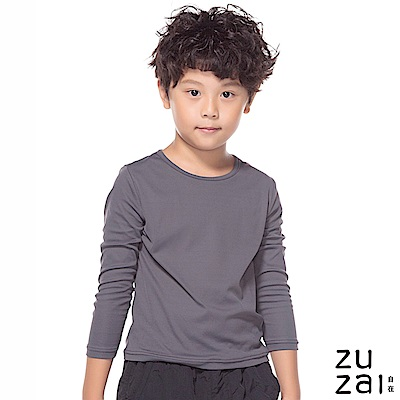 zuzai 自在發熱衣歸真系列童無重力暖搭長袖衣-中灰色