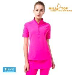 【hilltop山頂鳥】女款ZIsofit吸濕排汗抗UV彈性上衣S14FD1紫桃紅