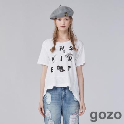 gozo藝術家氛圍英文字母前短後長上衣(兩色)