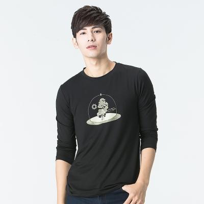 【SNOWFOX 雪狐】抗過敏肌質輕透氣防曬聯名圖T恤男款長袖ATL-81667黑