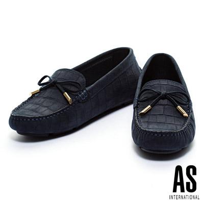 休閒鞋-AS-經典鱷魚壓紋蝴蝶結牛皮休閒鞋-藍