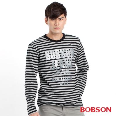 BOBSON  男款銀字條紋長袖上衣