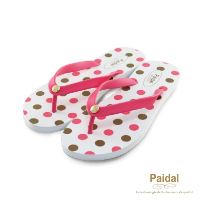 Paidal 熱力圓點點海灘拖鞋人字拖鞋-粉