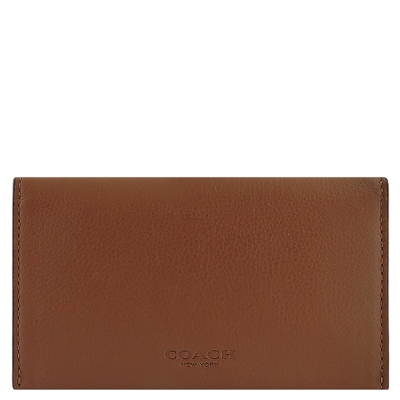 COACH-焦糖色小牛皮壓紋五卡中夾
