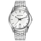 pierre cardin皮爾卡登   極度時尚日期腕錶-銀框白-鋼帶款/44mm