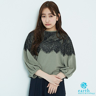 earth music 寬版花朵蕾絲拼接七分袖上衣