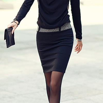條紋腰圍鬆緊窄短裙-黑色-N-C21