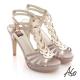 A.S.O 修身美型 金箔真皮編織感高跟涼鞋