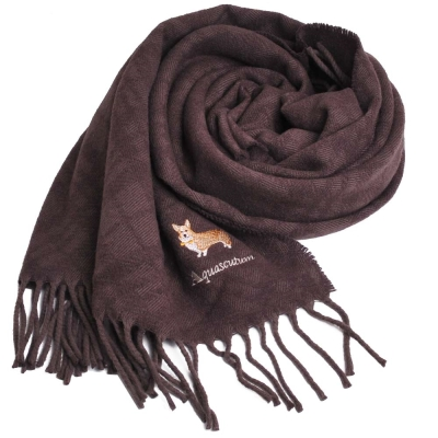 Aquascutum 高質感100%羊毛經典品牌字母LOGO柯基犬刺繡披肩(咖啡)