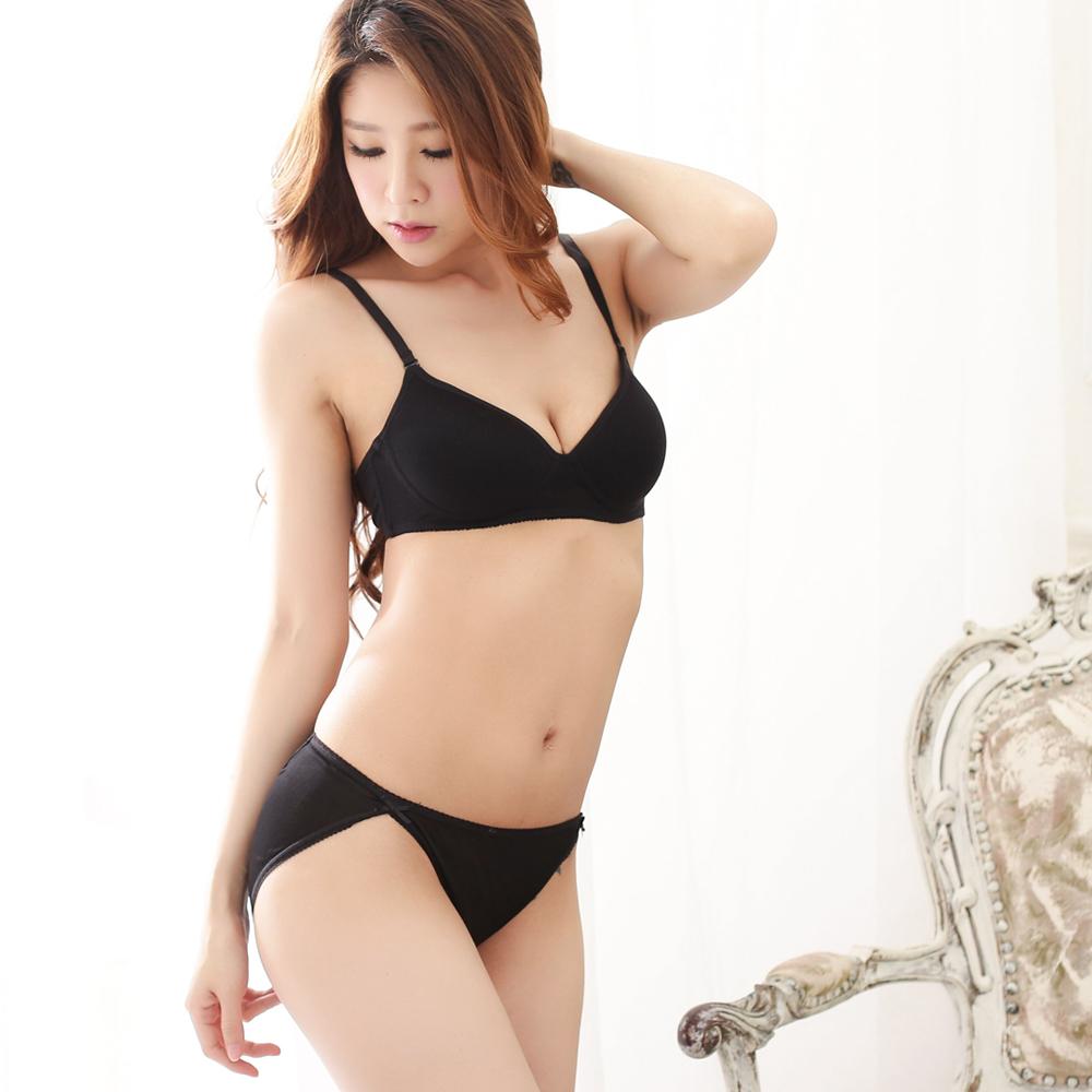 無鋼圈 100%蠶絲成套內衣褲M-XL(黑) Seraphic