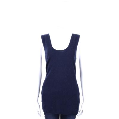ALLUDE 深藍色美麗諾羊毛織紋無袖上衣(30%CASHMERE)