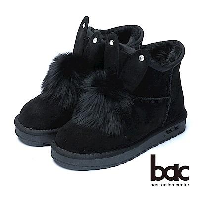 bac巧思造型兔兔造型保暖雪靴-黑