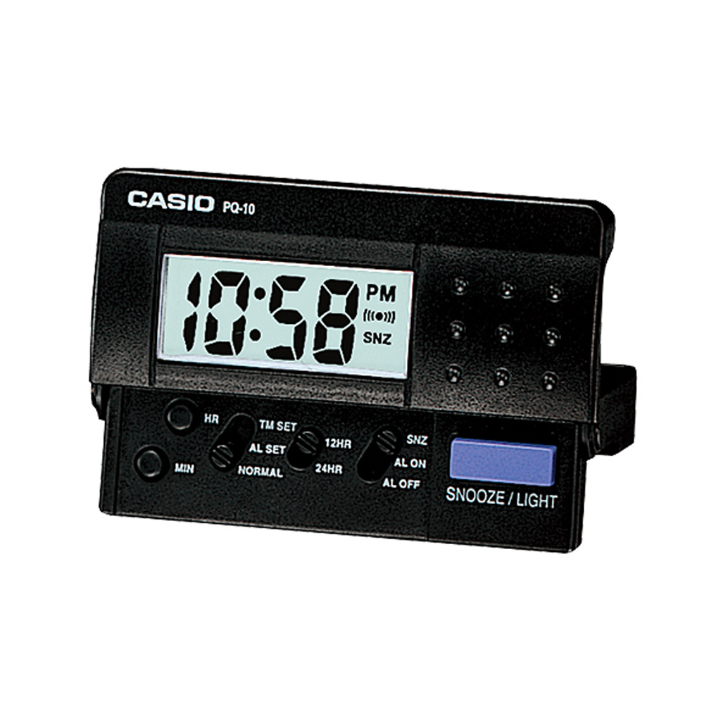 CASIO 蜂鳴響音LED鬧鐘(PQ-10-1)-黑