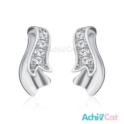 AchiCat 925純銀耳環 優雅緞帶 純銀耳針