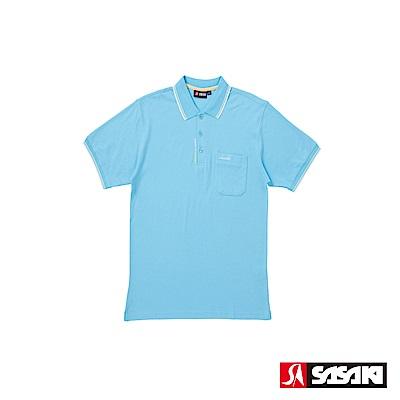 SASAKI 棉質吸濕排汗功能運動休閒短衫-男-天空藍