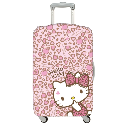 LOQI 行李箱套-Hello Kitty 豹紋 (L號 適用28吋以上行李箱保護套)