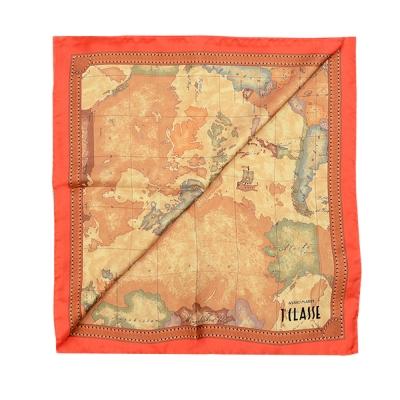 Alviero Martini 義大利地圖 經典地圖邊框配色方巾-橘紅(90X90)