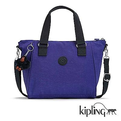 Kipling 斜背包 靛紫素面-中