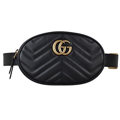 GUCCI Marmont系列復古金屬雙G牛皮愛心車線W字紋拉鍊小型胸掛/腰包(黑)