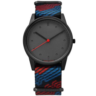 HyperGrand 首創印花設計 極簡面板 尼龍手錶-深灰x紅藍/38mm