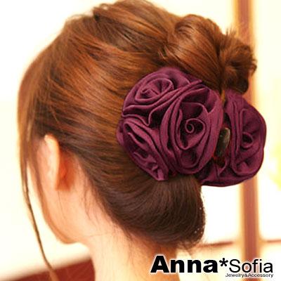AnnaSofia-立體玫瑰亮緞-中型髮抓夾-酒紅