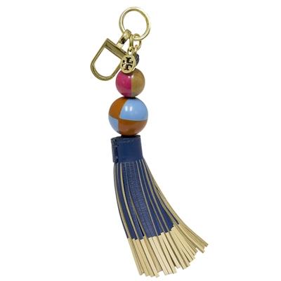 TORY BURCH 雙珠牛皮流蘇鑰匙圈/掛飾-多彩藍