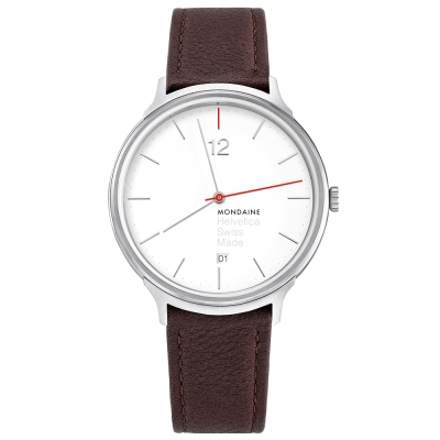 MONDAINE 瑞士國鐵Erik Spiekermann聯名紀念錶-白x棕色錶/38mm