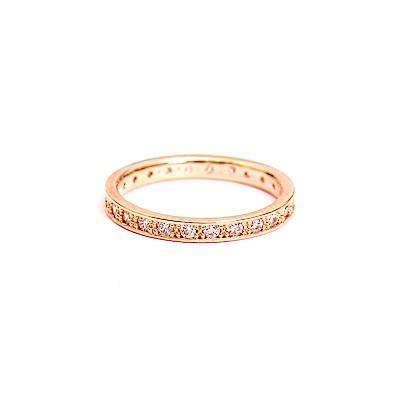 微醺禮物 戒指 正韓 銅 鍍16K金  密釘鑲 小寬版 經典排列 爪鑲 尾戒