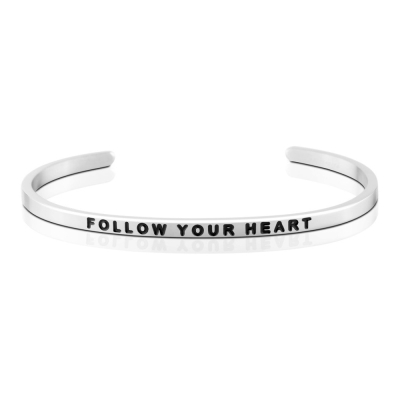 MANTRABAND 美國悄悄話手環 Follow Your Heart 隨心所欲 銀色