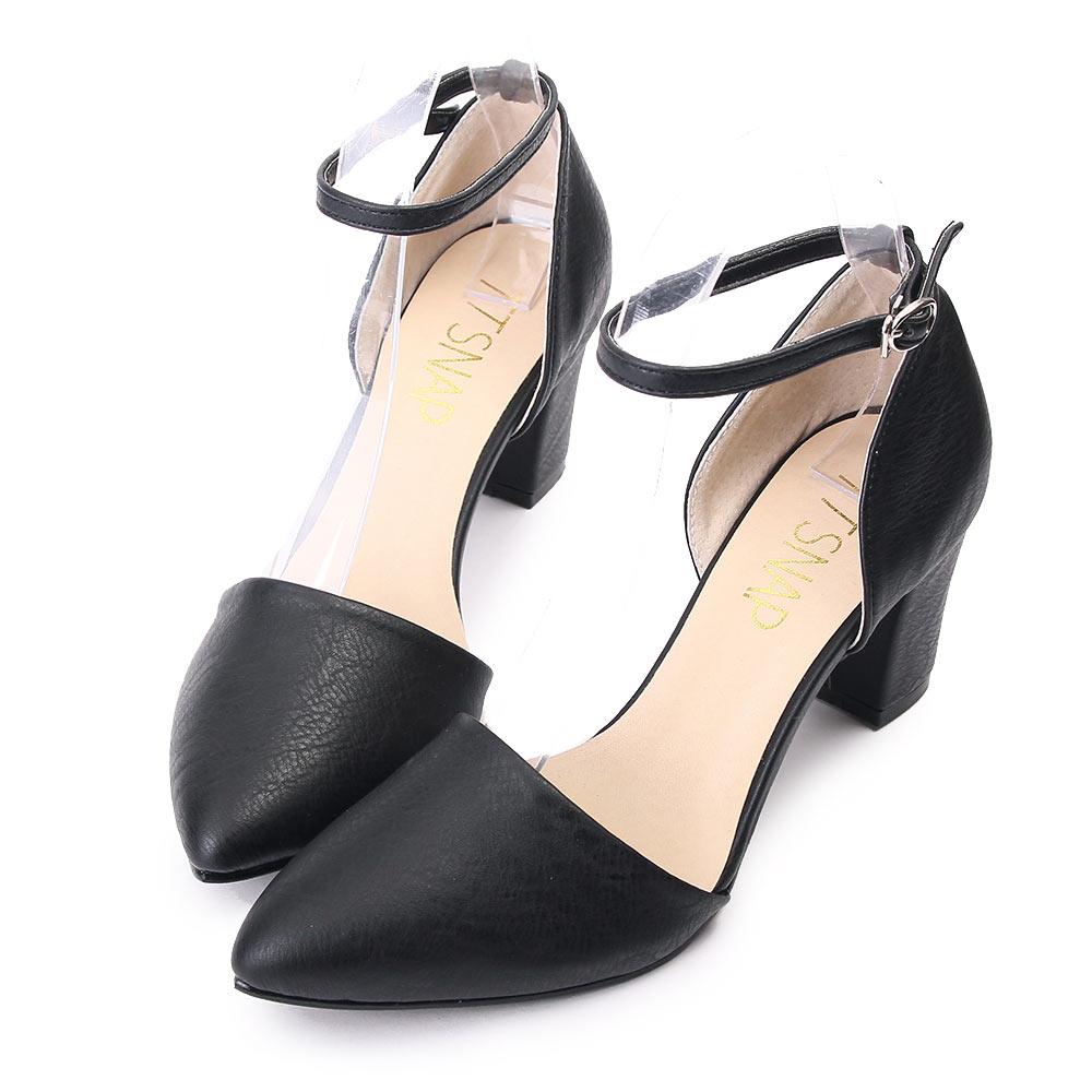 TTSNAP尖頭鞋-MIT法式絕美繫踝瑪莉珍中跟鞋 黑