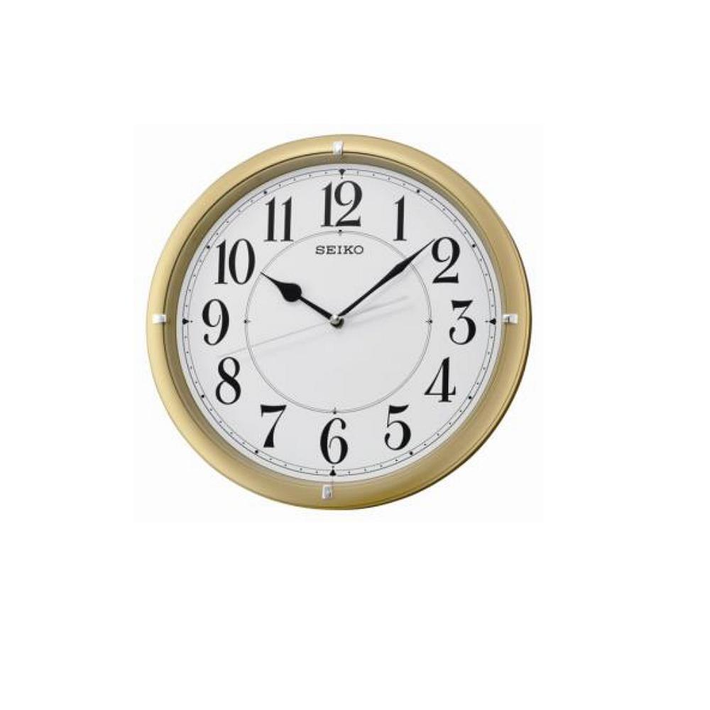 SEIKO 滑動式秒針 靜音掛鐘-金框/31cm