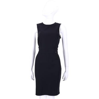 ELISABETTA FRANCHI 黑色圓領後拉鍊設計無袖洋裝