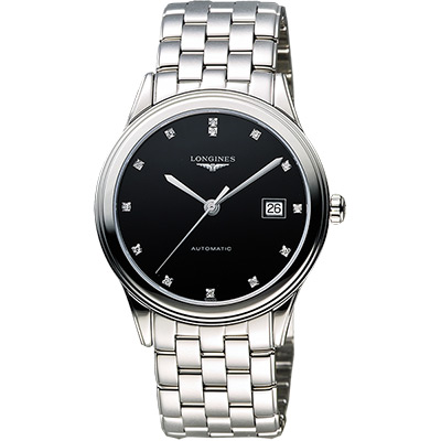 LONGINES Flagship 經典純粹真鑽機械腕錶-黑/38.5mm