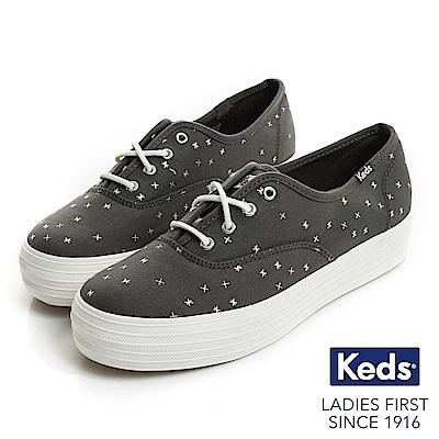 Keds TRIPLE 燙金圖騰厚底綁帶休閒鞋-深灰石