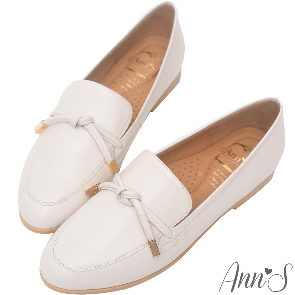 Ann'S知性文藝-雙結柔軟綿羊皮紳士平底鞋-米(版型偏大)