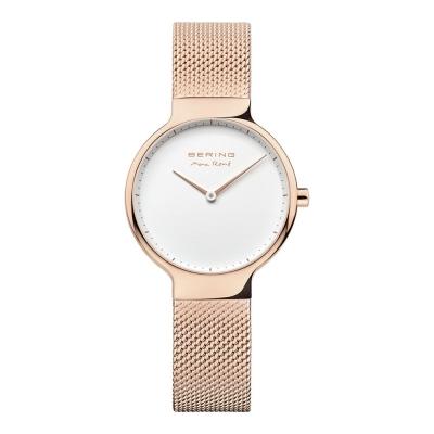 BERING-MAX RENE設計師聯名款 白錶盤x玫瑰金 米蘭錶帶31mm