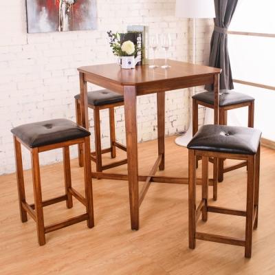 Bernice-伊恩方形吧檯桌椅組(1桌4椅)