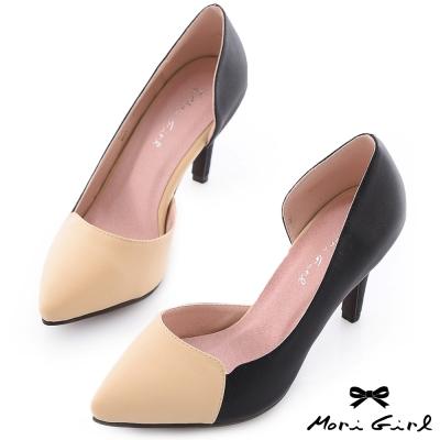 Mori girl巴黎品味-個性撞色拼接高跟鞋 黑x杏