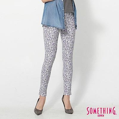 SOMETHING LADIVA印花合身牛仔褲-女-紫色