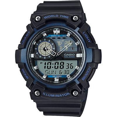 CASIO 卡西歐 世界時間地圖手錶-藍黑/53.7mm