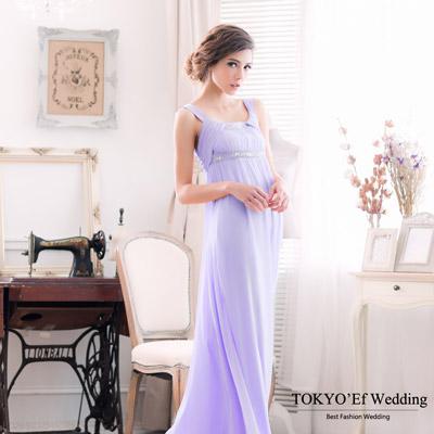 東京衣服-手工釘珠刺繡U領-高腰顯瘦長禮服-粉紫