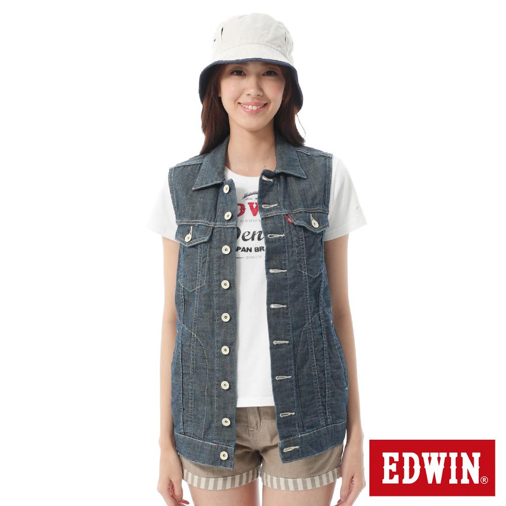 EDWIN 口袋牛仔背心-女-酵洗藍