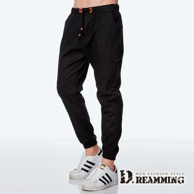 Dreamming 韓系潮款皮標抽繩束口休閒長褲-黑色