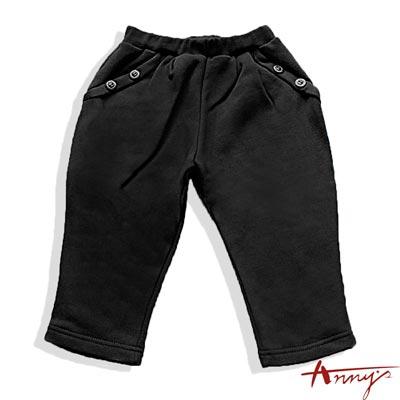 Anny素面造型釦飛鼠褲*1428黑