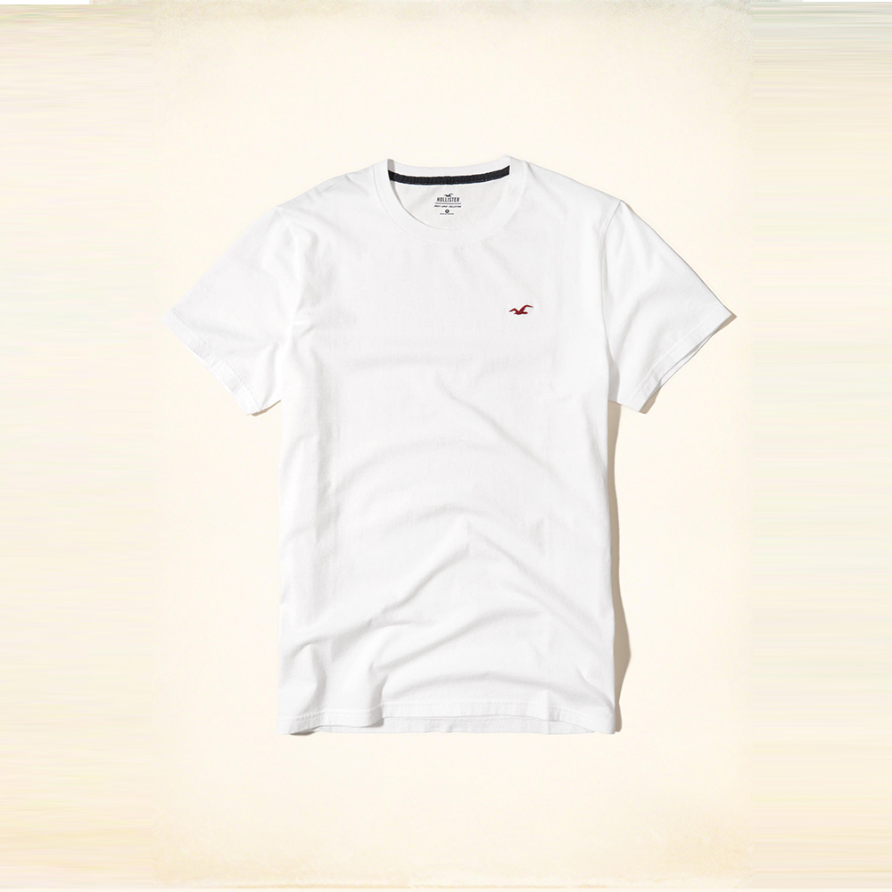 Hollister 經典海鷗刺繡圓領短袖T恤-白色 HCO